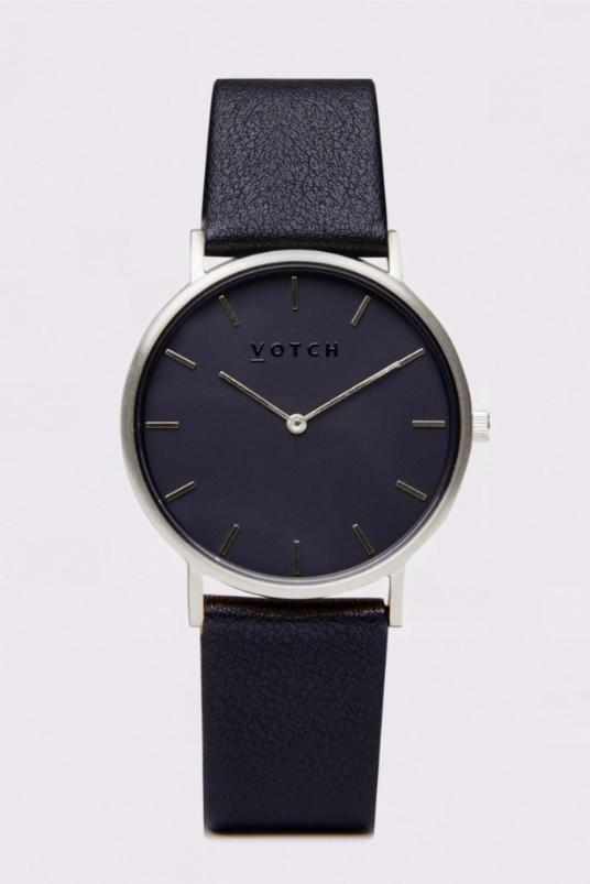 Classic Silver & Black Vegan Leather Watch-Watch-Votch-MAMOQ