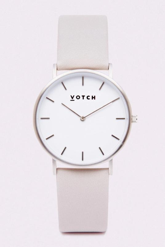 Classic Silver & Light Grey Vegan Leather Watch-Watch-Votch-MAMOQ