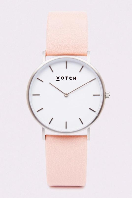 Classic Silver & Pink Vegan Leather Watch-Watch-Votch-MAMOQ