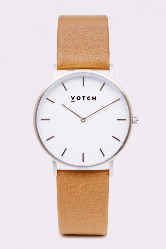 Classic Silver & Tan Vegan Leather Watch-Watch-Votch-MAMOQ