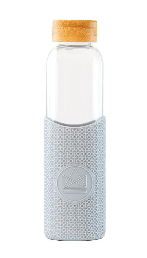 Cloud 9 Grey Reusable Glass Water Bottle-Glass Water Bottles-Neon Kactus-MAMOQ