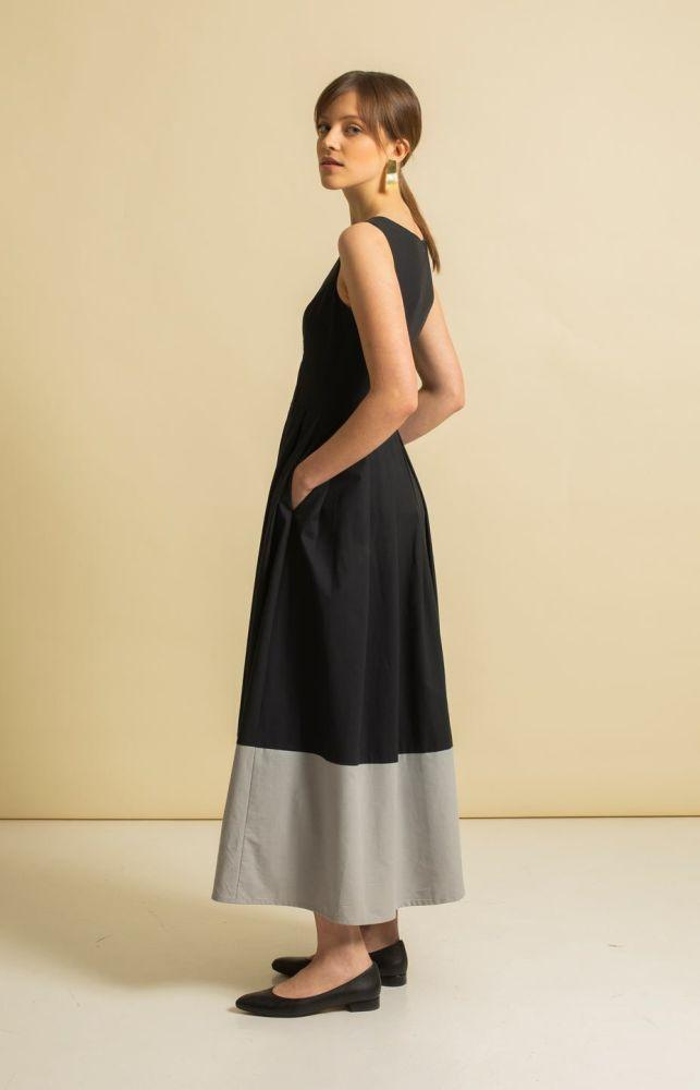 Coal Black Vegan Maxi Dress-TAUKO-MAMOQ