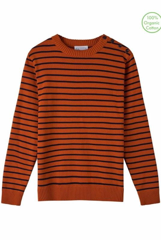 Coastal Stripe Burnt Orange Organic Cotton Jumper-Le Pirol-MAMOQ