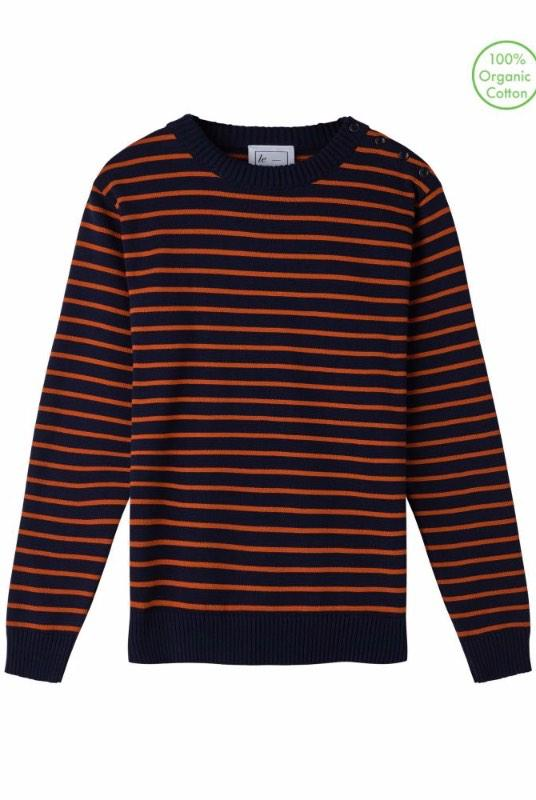 Coastal Stripe Navy and Orange Organic Cotton Jumper-Le Pirol-MAMOQ