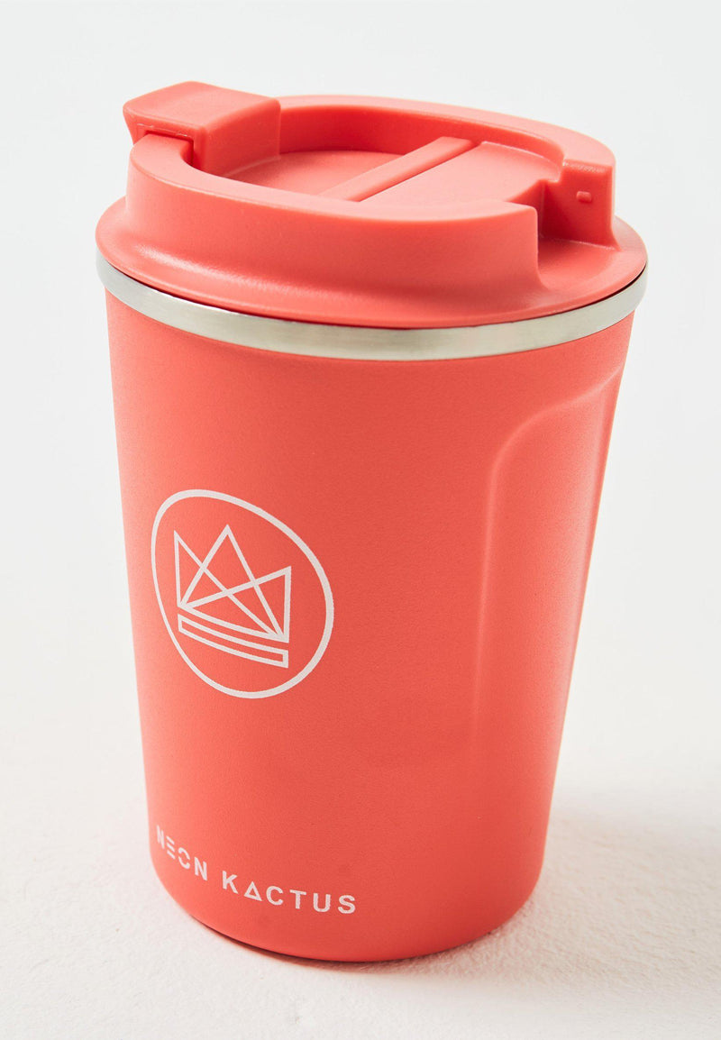 Coral Reef Red Insulated Reusable Coffee Cup-Insulated Coffee Cups-Neon Kactus-MAMOQ
