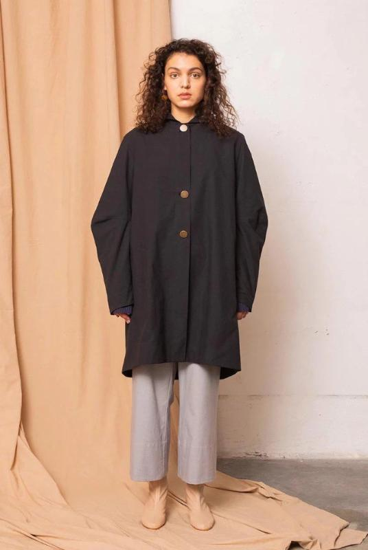 Core Coal Black Coat-Jackets & Coats-TAUKO-MAMOQ