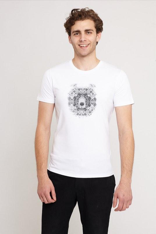 Cosmic Bear White Organic Cotton T-Shirt-Absolutely Bear-MAMOQ