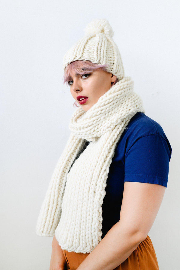 Cream Wool Chunky Scarf-ACCESSORIES-Birdsong-MAMOQ