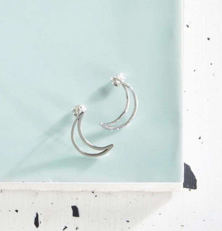 Crescent Lune Stud Earrings-KIND Jewellery-MAMOQ
