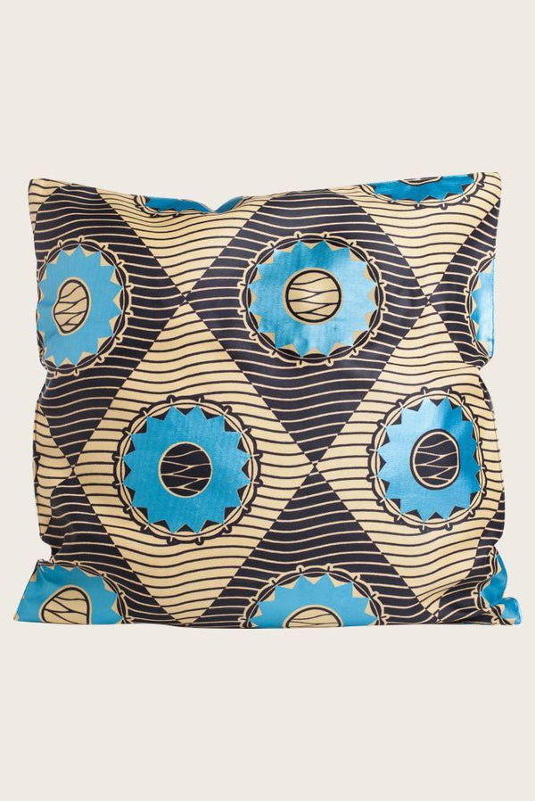 Cushion cover in blue circles chitnje print-Mayamiko-MAMOQ