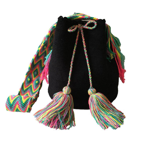 Cusiana Black Cotton Wayuu Mochila Bag-Untold Treasures-MAMOQ