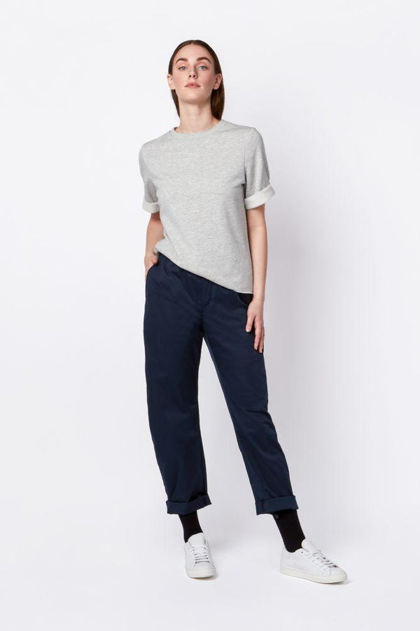 Dark Blue Cotton Trousers-Elsien Gringhuis-MAMOQ