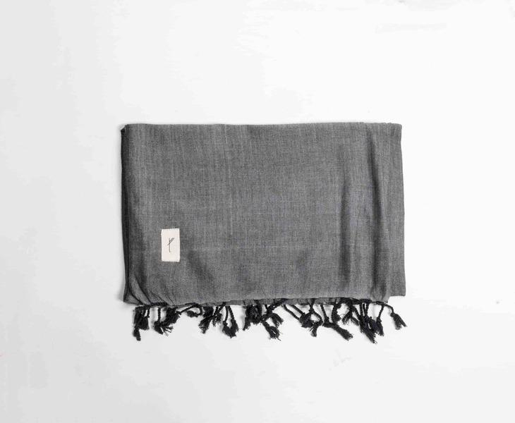 Dark Grey Bamboo Cotton Shawl-Tale Of The Future-MAMOQ
