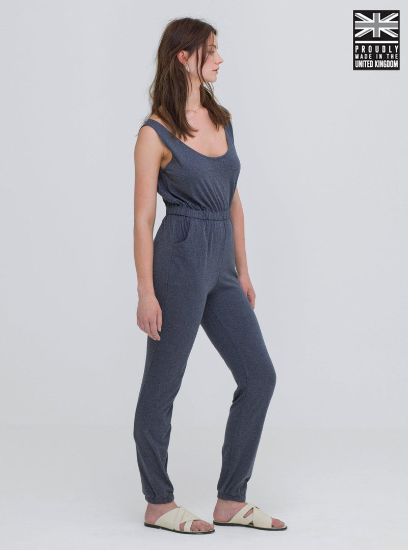 Dark Grey Loungewear Cotton Jumpsuit-Jumpsuit-Zola Amour-MAMOQ