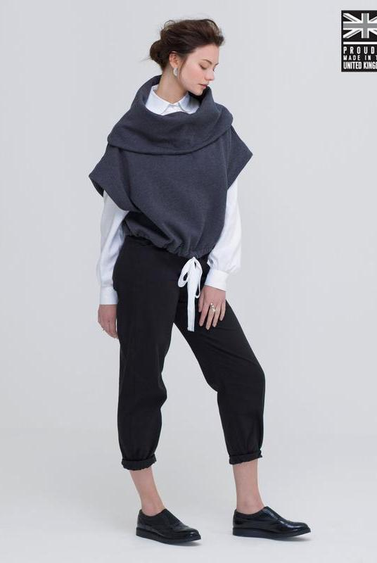 Dark Grey Organic Cotton Poncho-Jumper-Zola Amour-MAMOQ