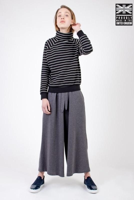 Dark Grey Organic Cotton Wide Leg Culottes-Zola Amour-MAMOQ