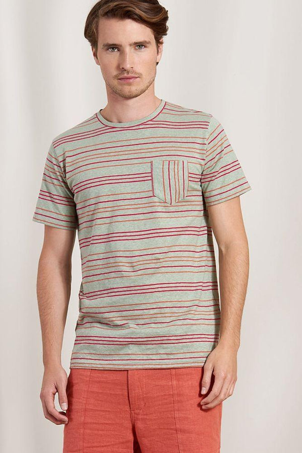Dave Striped Organic Cotton Short Sleeve Tee-Komodo-MAMOQ
