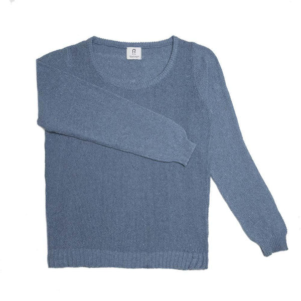 Denim Blue Regenerated Cotton Jumper-Rifò-MAMOQ