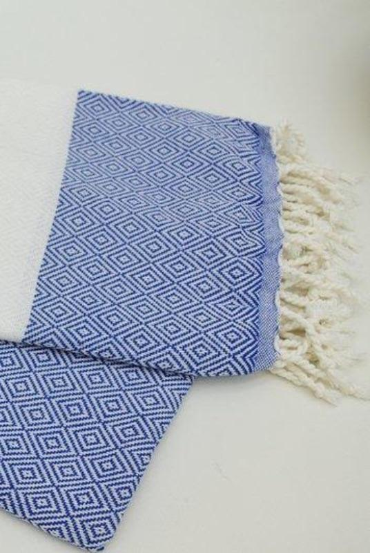 Destan Blue Organic Cotton Hammam Towel-Harfi-MAMOQ