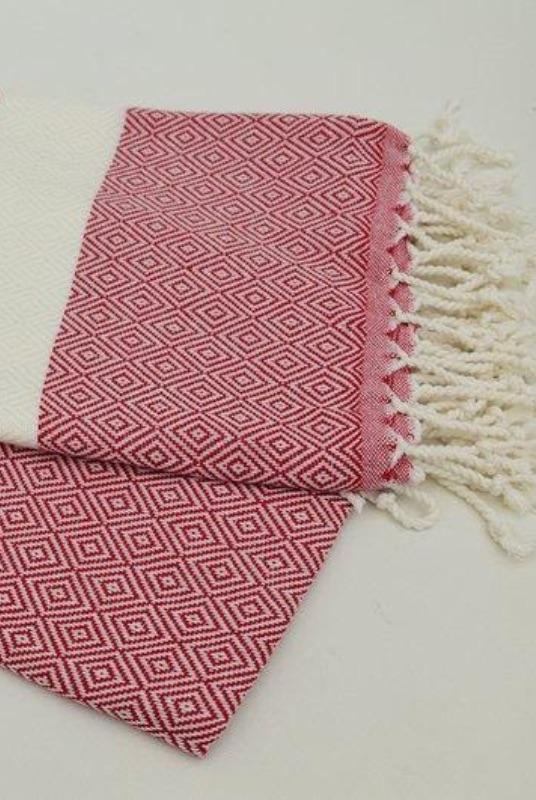 Destan Red Organic Cotton Hammam Towel-Harfi-MAMOQ