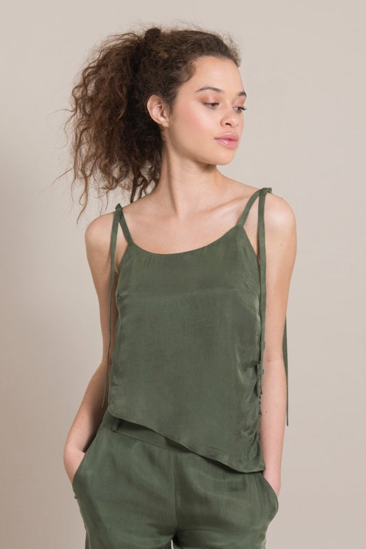 Diagonal Green Cupro Draped Top-blonde gone rogue-MAMOQ
