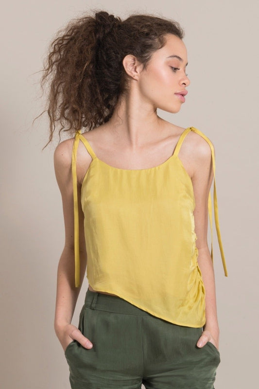 Diagonal Yellow Cupro Draped Top-blonde gone rogue-MAMOQ