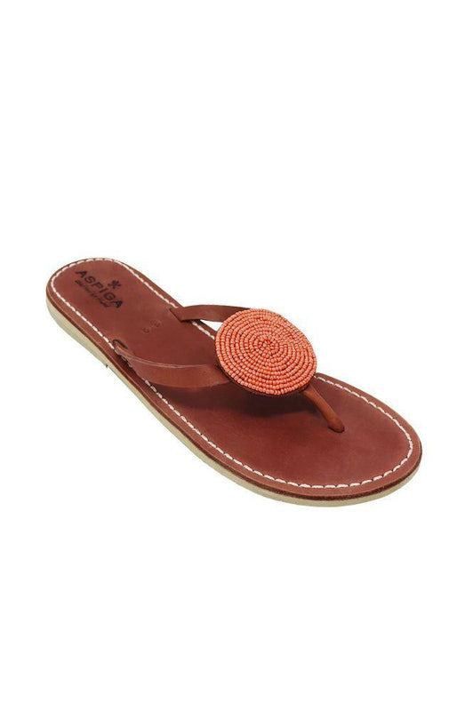 Disc Coral Leather Thong Sandals-Aspiga-MAMOQ