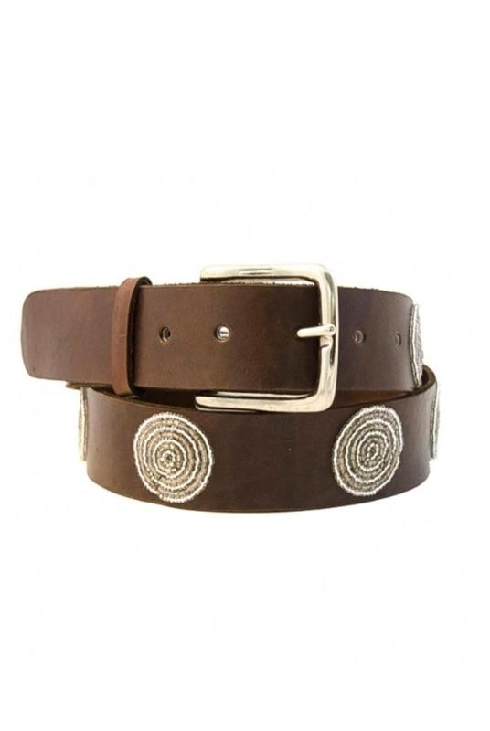 Disc Silver Beaded Leather Belt-Aspiga-MAMOQ