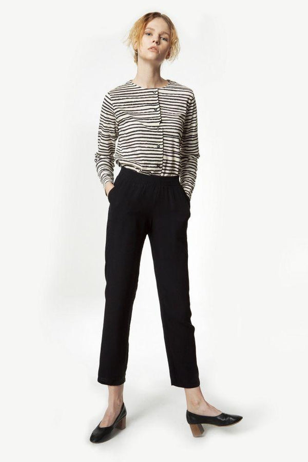Distorted Striped Organic Jersey Buttoned Top-Rakha-MAMOQ