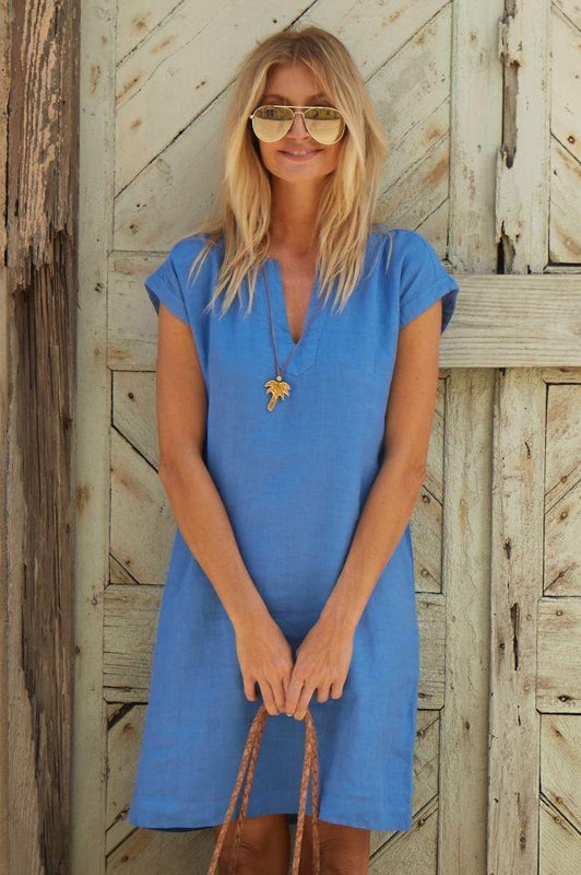 Dori Marina Blue Linen Dress-Aspiga-MAMOQ