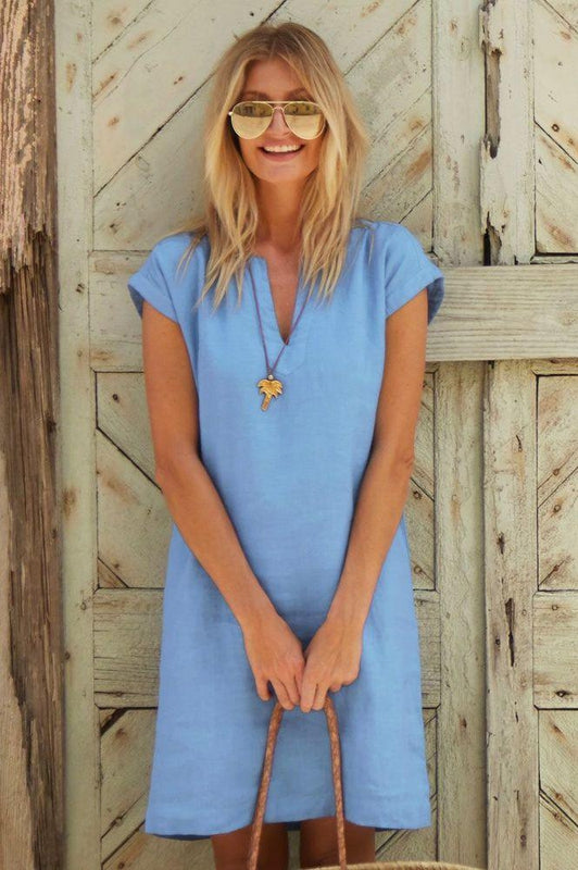 Dori Powder Blue Linen Dress-Aspiga-MAMOQ