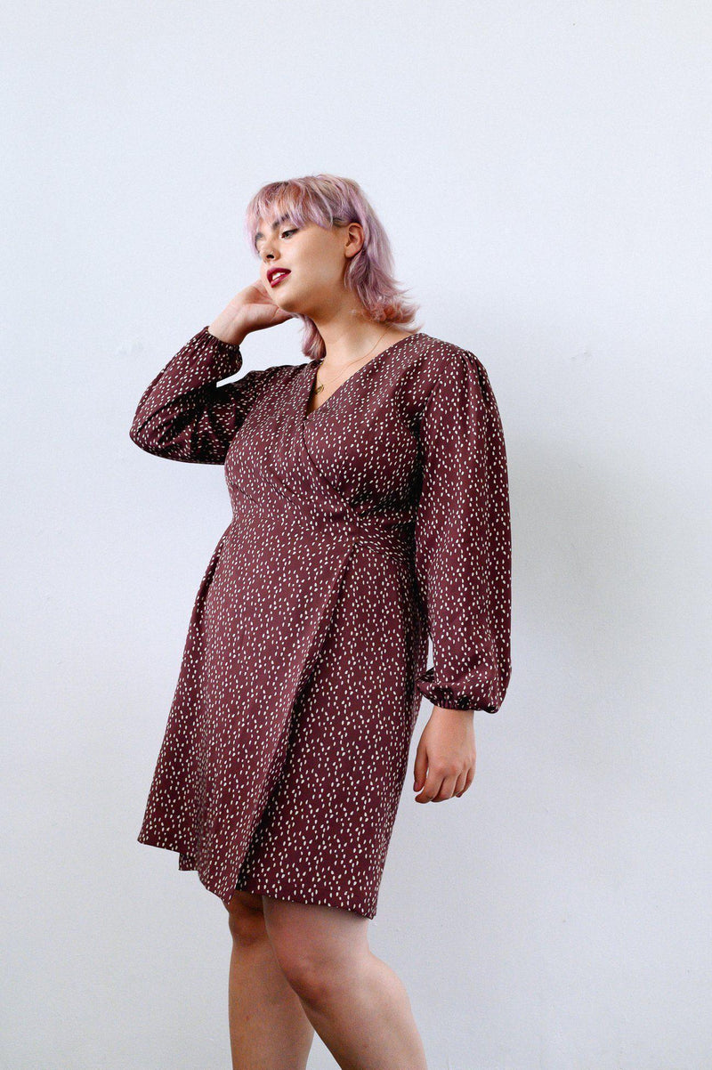 Dots Tencel Mini Wrap Dress-CLOTHING-Birdsong-MAMOQ