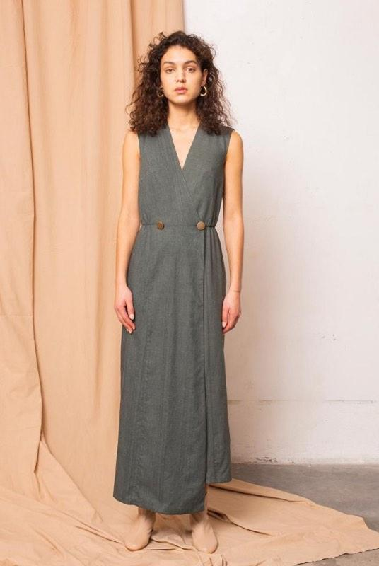 Dust Melange Alpine Green Maxi Dress-TAUKO-MAMOQ