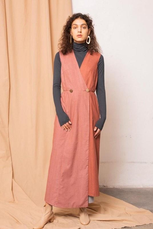 Dust Melange Burnt Henna Maxi Dress-TAUKO-MAMOQ