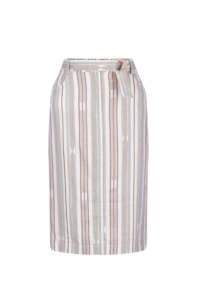 Ella Striped Linen Midi Skirt-Komodo-MAMOQ