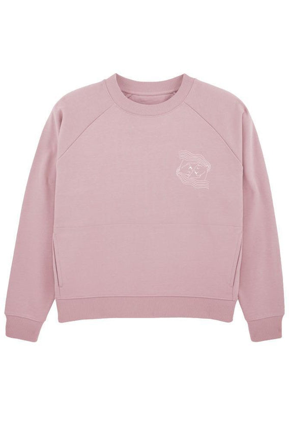 Embroidered Pink Organic Cotton Sweatshirt-Birdsong-MAMOQ