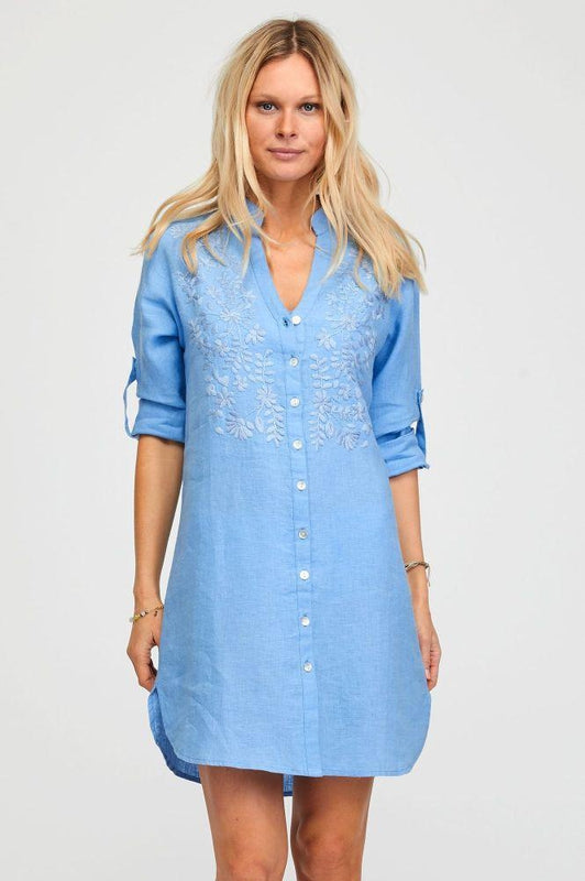 Embroidered Powder Blue Linen Short Tunic-Aspiga-MAMOQ