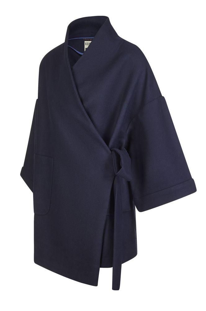 Endeavour Blue Recycled PET Wrap Coat-Komodo-MAMOQ