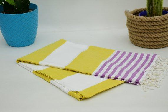 Esila Yellow Organic Cotton Hammam Towel-Harfi-MAMOQ
