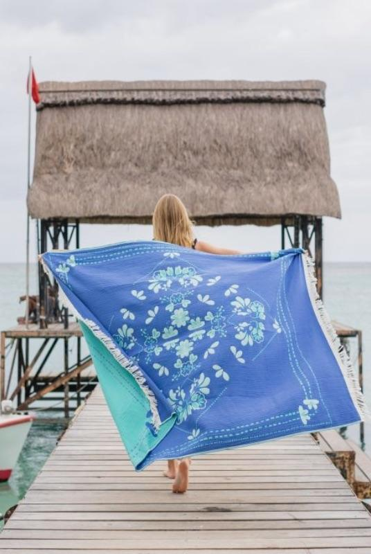 Eternity Blue Large Cotton Towel-COTTESEA-MAMOQ