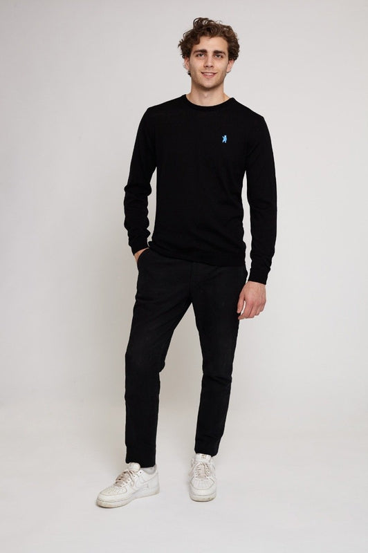 Exmoor Black Merino Wool Jumper-Absolutely Bear-MAMOQ