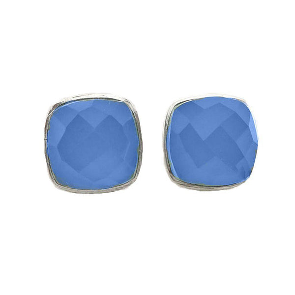 Fatima Blue Chalcedony Silver Plated Earrings-jewellery-Harfi-MAMOQ