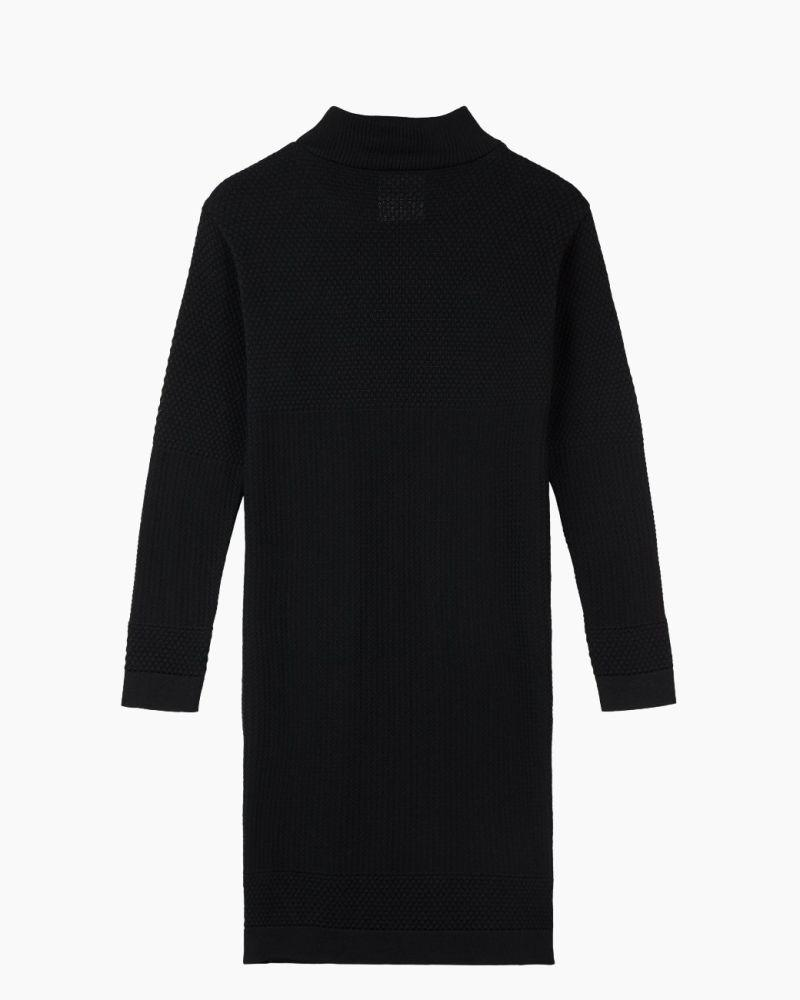 Fiord Black Merino Wool Seed Dress-Le Pirol-MAMOQ