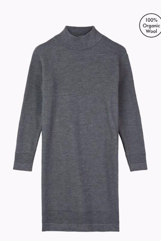 Fiord Grey Merino Wool Seed Dress-Le Pirol-MAMOQ