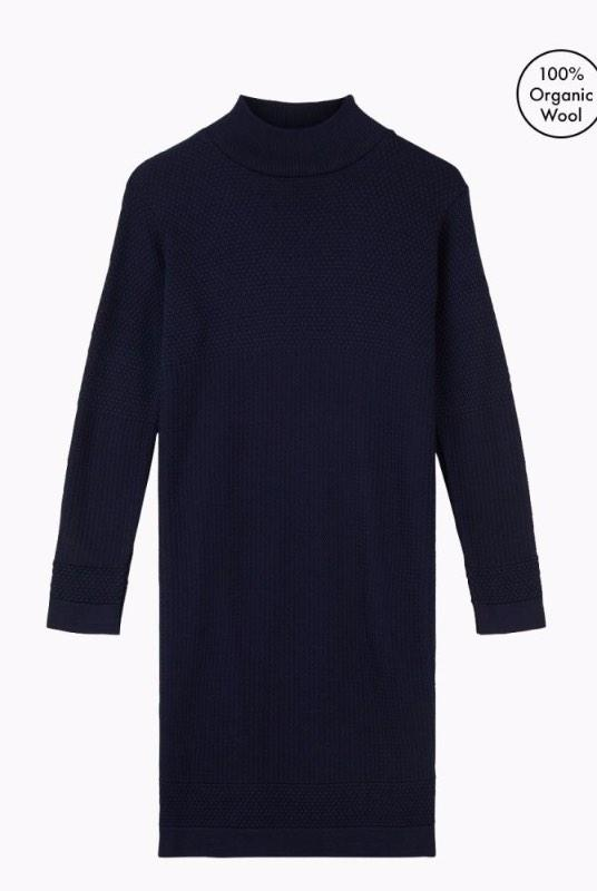 Fiord Navy Merino Wool Seed Dress-Le Pirol-MAMOQ