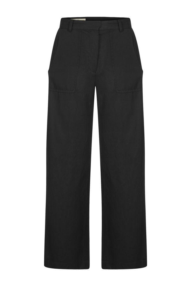 Fisher Black Tencel Wide Leg Trousers-Komodo-MAMOQ