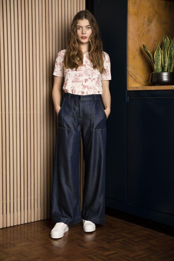 Fisher Denim Blue Tencel Wide Leg Trousers-Komodo-MAMOQ