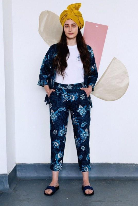 Floral Blue Organic Cotton Slim Leg Trousers-Birdsong-MAMOQ