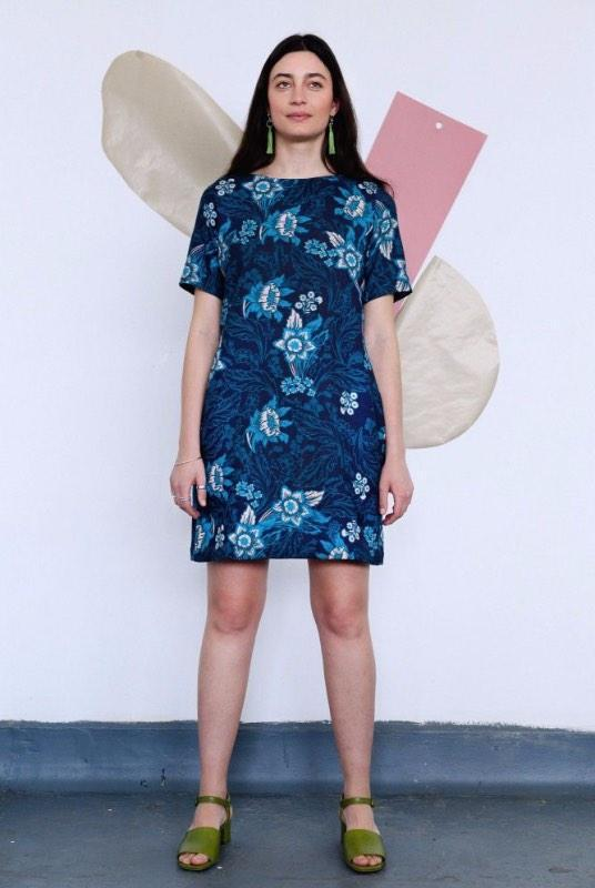 Floral Blue Organic Cotton T-Shirt Dress-Birdsong-MAMOQ