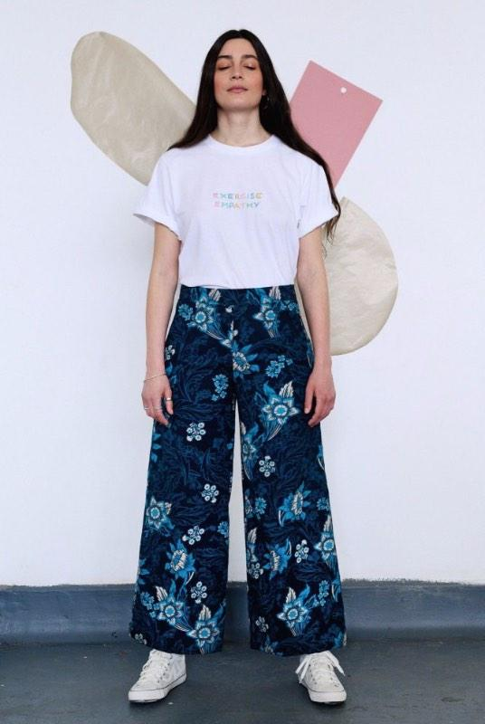 Floral Blue Organic Cotton Wide Leg Trousers-Birdsong-MAMOQ
